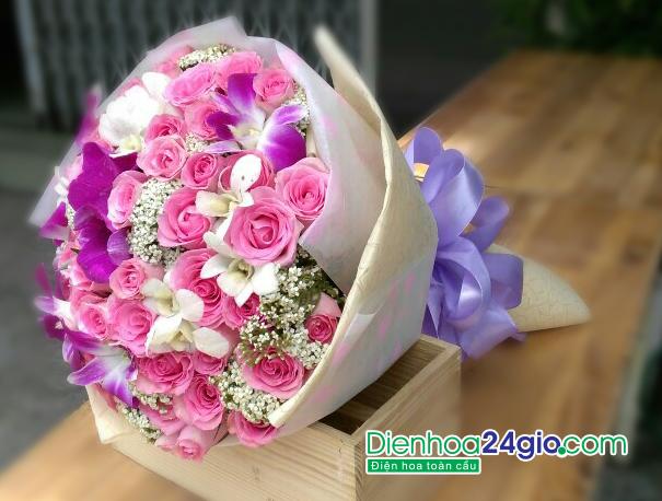 Kết quả hình ảnh cho bó hoa lan tặng bạn gái