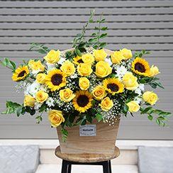 Giỏ hoa hồng vàng - Dienhoa24gio.com