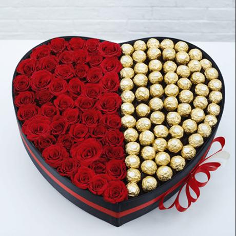 Hộp tim hoa và chocolate G617
