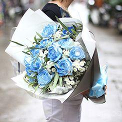 Bó hoa hồng xanh - Dienhoa24h.com