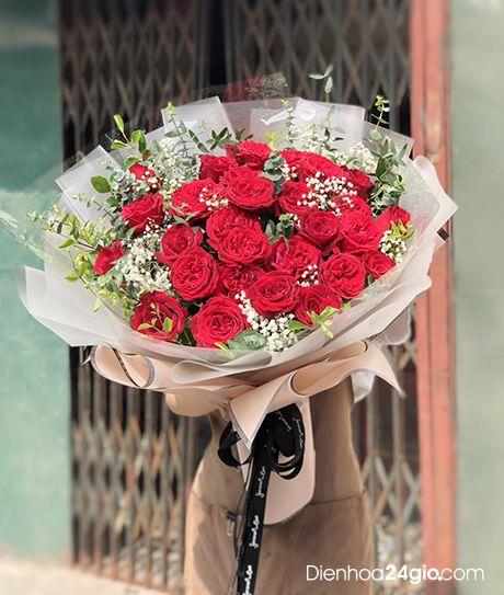 Bó hoa hồng ohara đỏ HB102