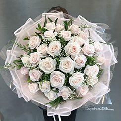 Bó hoa hồng kem phớt HB575