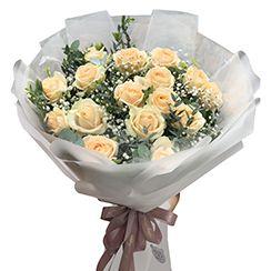 Bó hoa hồng vàng kem HB96