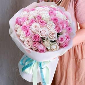 Bó hoa hồng kem, hồng sen