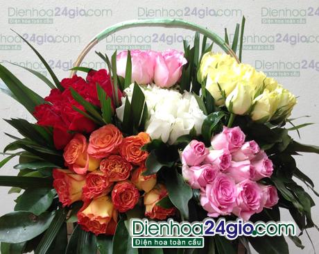 Giỏ hồng 5 màu sắc