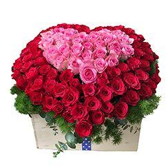 Hoa mừng sinh nhật đẹp, Giỏ hoa hình trái tim G404