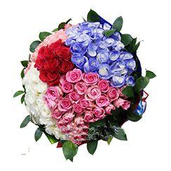 Bó hoa hồng 4 màu