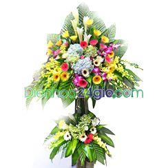 Lẵng hoa đẹp, hoa khai trương đẹp kt52